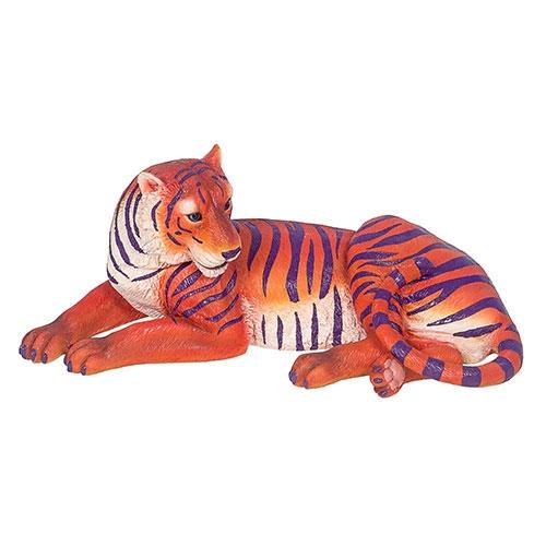 Tigre de Bengala Deitado de Resina Laranja e Roxo Fullway -  41x20 cm