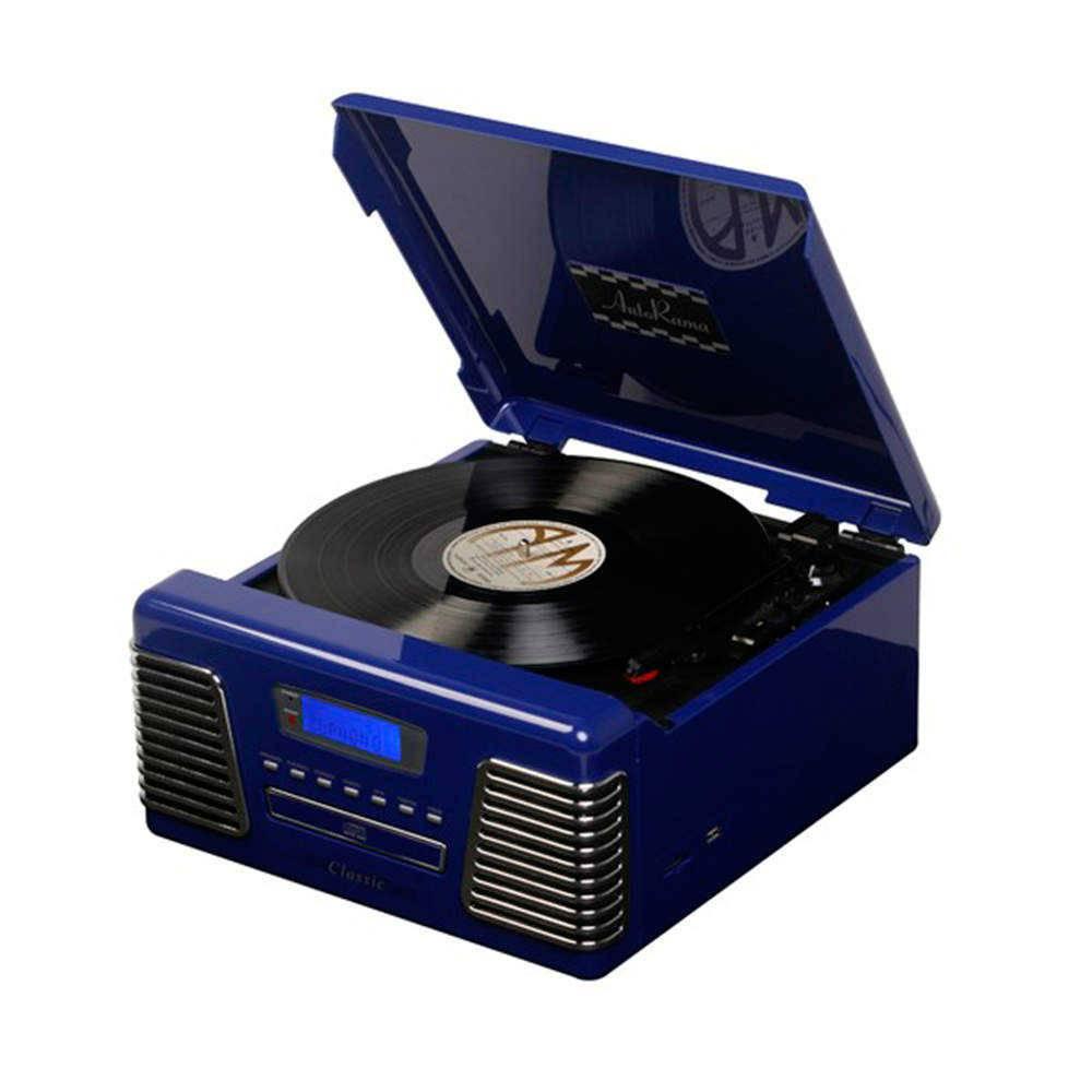 Toca-Discos Classic Azul - USB/SD Card - em Acrílico - 36x34 cm