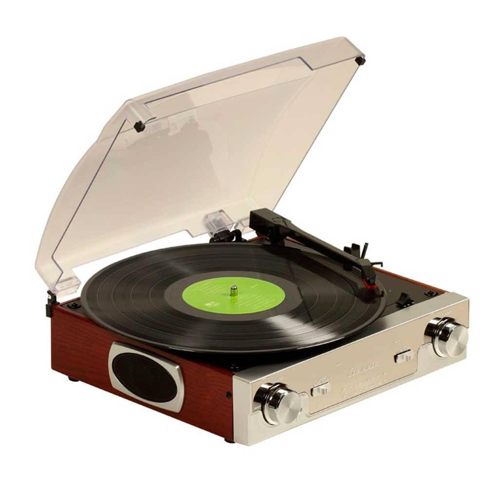 Toca-Discos Mississipi Prata e Marrom com Rádio AM/FM - 32x31 cm