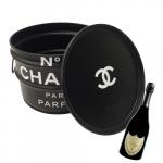 Tonel para Bar Chanel Preto - 40x30 cm