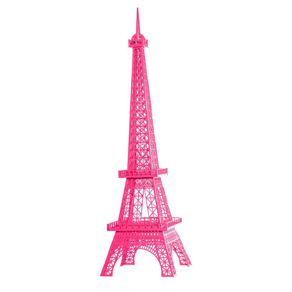 Torre Eiffel Decorativa Grande Rosa Pink em MDF - 73x12 cm