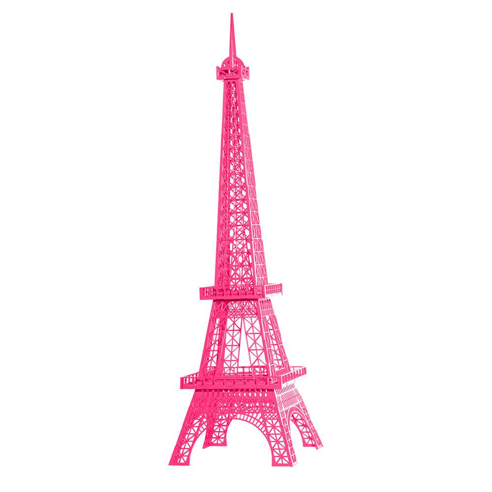 Torre Eiffel Decorativa Média Rosa Pink em MDF - 47x10 cm