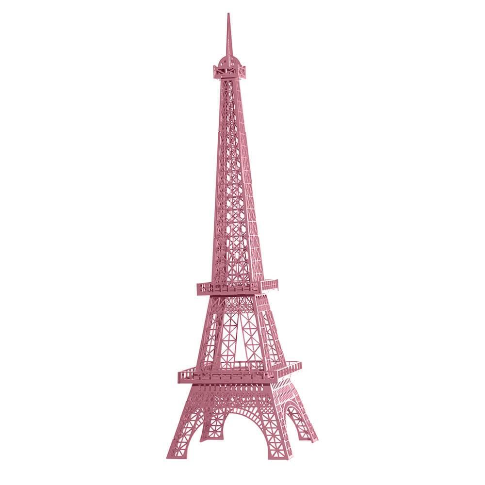 Torre Eiffel Decorativa Rosa Claro Pequena em MDF - 28x7 cm