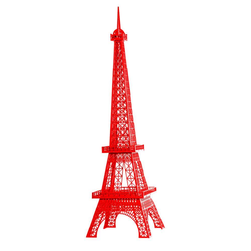 Torre Eiffel Decorativa Vermelho Pequena em MDF - 28x7 cm