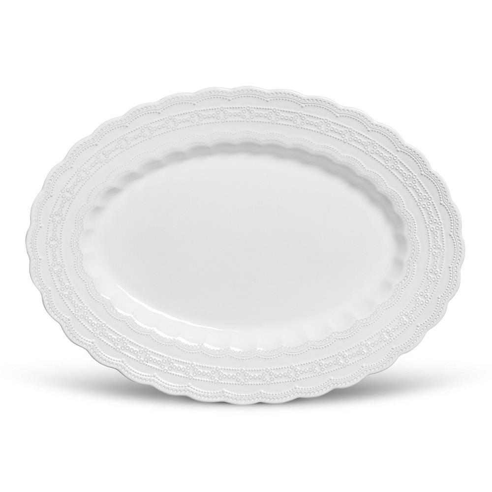 Travessa Grande Peniche Branco - em Cerâmica - Porto Brasil - 52x38 cm