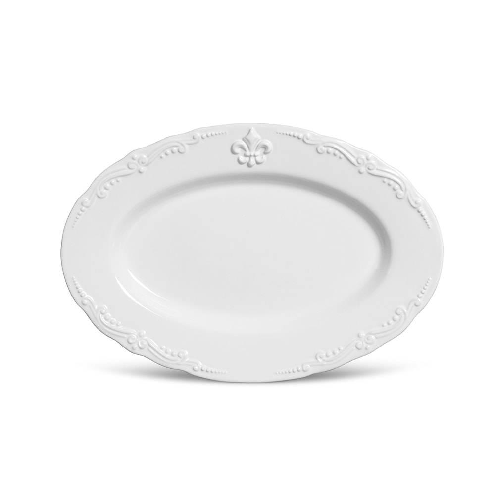 Travessa Média Flor de Lis Branca - em Cerâmica - Porto Brasil - 52x38 cm