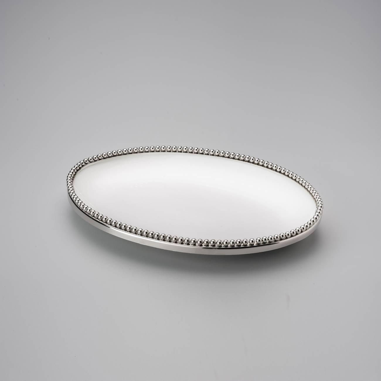 Travessa Oval Beaded Delhi em Cerâmica - Wolff - 36x26 cm