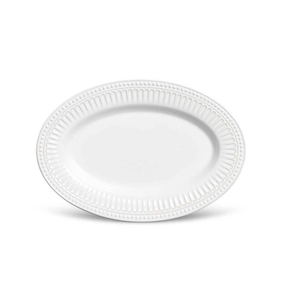 Travessa Pérgamo Branca Média em Cerâmica - Ravenna - Porto Brasil - 36x24,5 cm