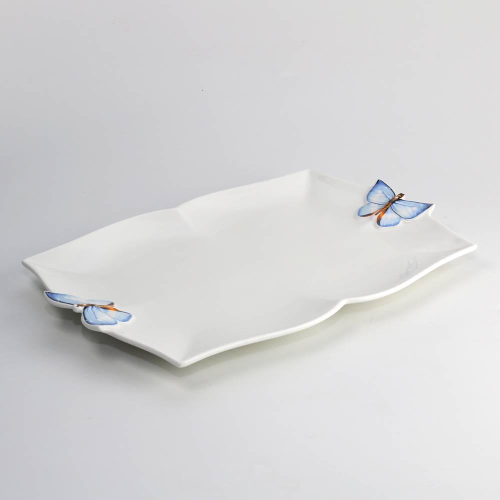 Travessa Retangular Borboletas Branco em Porcelana - Wolff - 29,5x16 cm