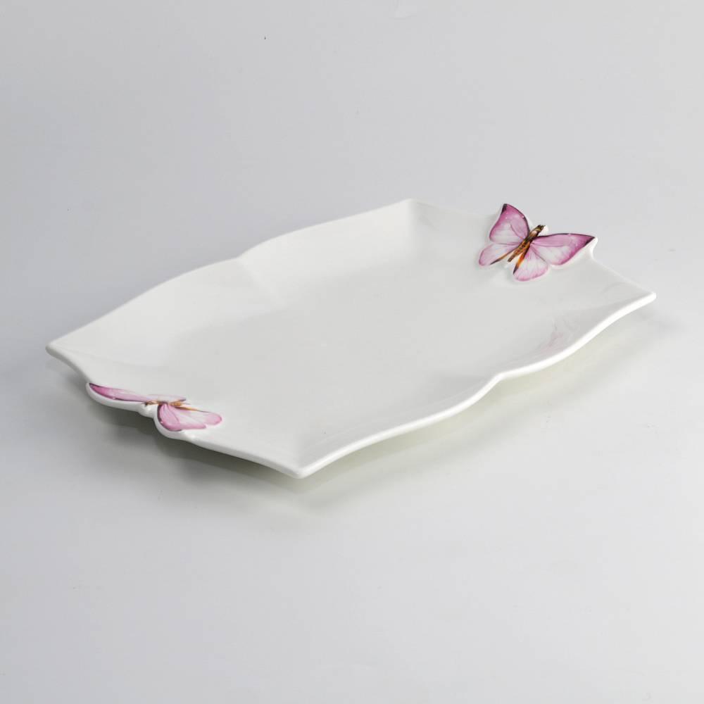 Travessa Borboletas Retangular Branca em Porcelana - Wolff - 24x16 cm