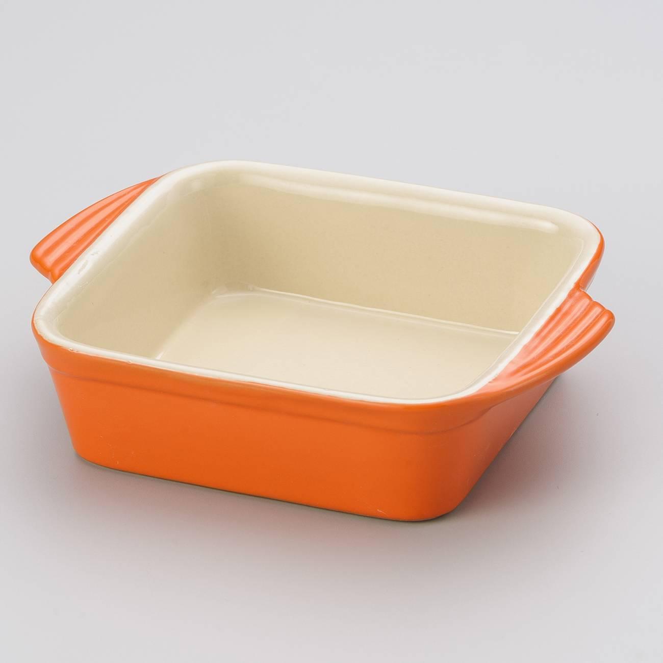 Travessa Quadrada Laranja em Cerâmica - Bon Gourmet - 18x14,5 cm