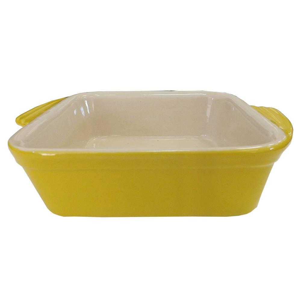 Travessa Quadrada Amarela em Cerâmica - Bon Gourmet - 18 cm