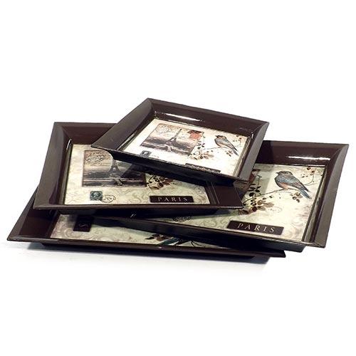 Travessas Quadradas Bird Selo Paris Fullway - 4 peças - 29x29 cm
