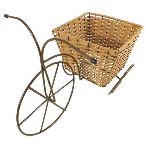 Triciclo de Ferro com Vaso Quadrado em Vime - 40x28.5 cm
