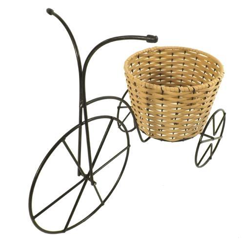Triciclo de Ferro com Vaso Redondo em Vime - 40x31 cm