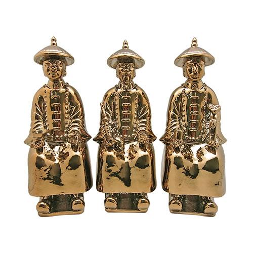 Trio de Estatuetas Figuras Aberdeen Dourado - 28x12 cm