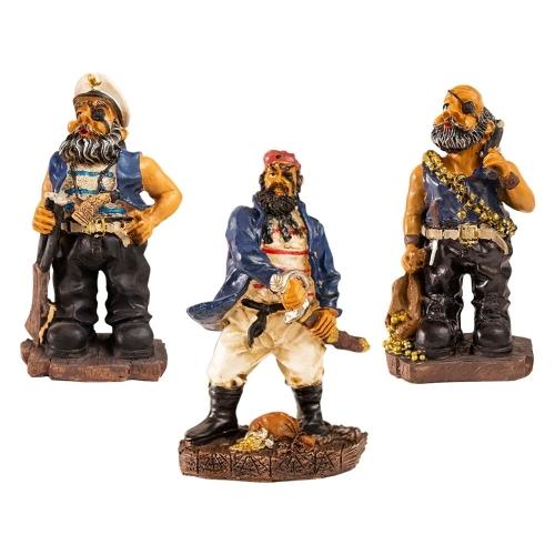Trio de Estatuetas Pequenas Piratas Valentes em Resina - 15x9 cm