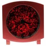 Relógio de Mesa Quadrado Vermelho com Purpurina - 10x10 cm