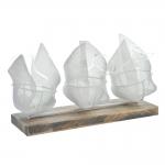 Vaso 3 Solitários Ovais Branco em Madeira - 26x18 cm