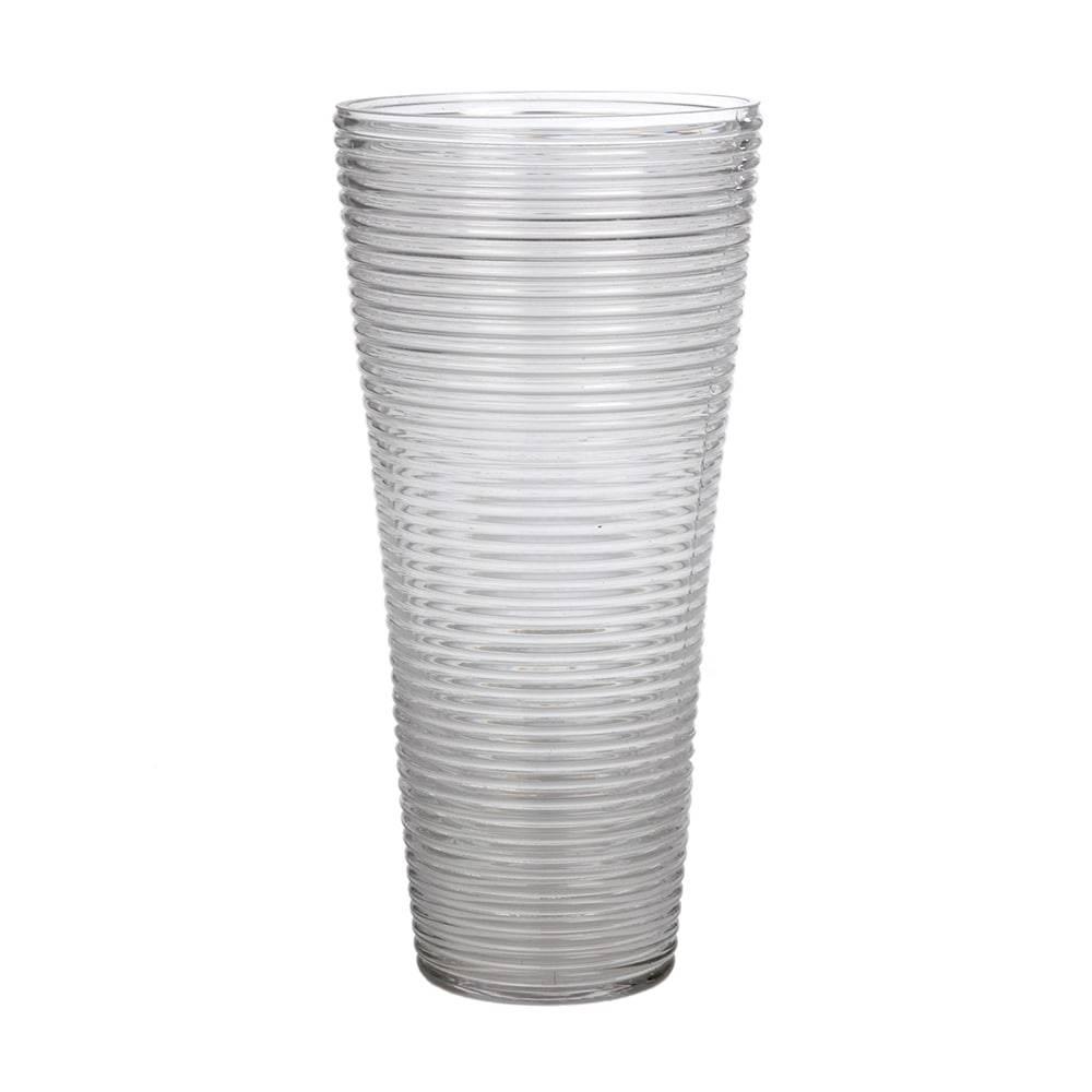Vaso Alto Linhas Transparente em Vidro - 40x20 cm