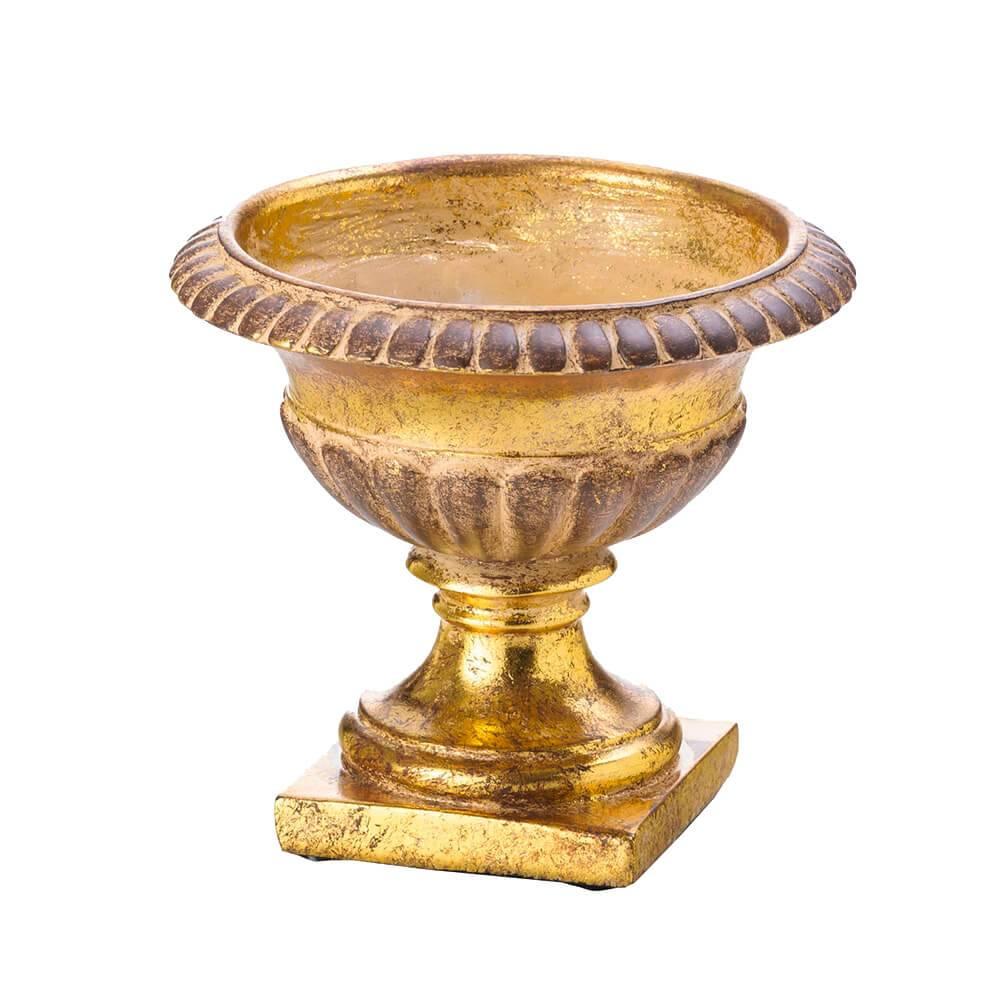 Vaso Ânfora Bojudo Dourado em Resina - Lyor Classic - 22x16 cm