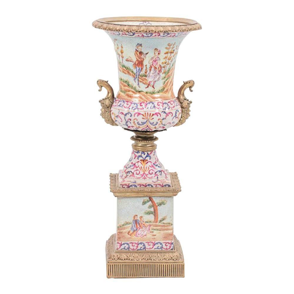 Vaso Anfora Estampado Angelical em Porcelana - 50x21 cm