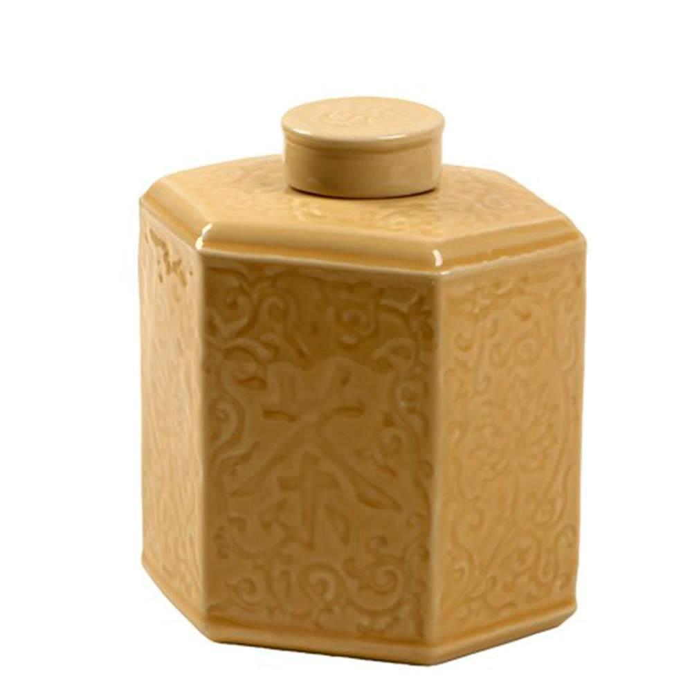 Vaso Antique Bege em Porcelana com Relevo - 20x17 cm