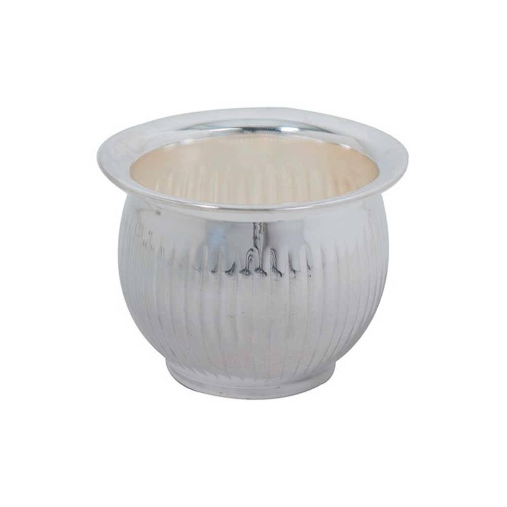Vaso Arredondado com Borda em Metal com Banho de Prata - 12x9 cm