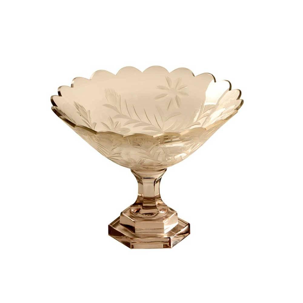 Vaso Artesanal Médio Ramo de Flores Transparente em Vidro - 26x19 cm
