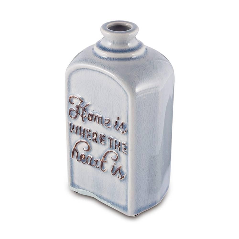 Vaso Azul Lar é Onde o Coração Está em Cerâmica - 15,5x9,5 cm