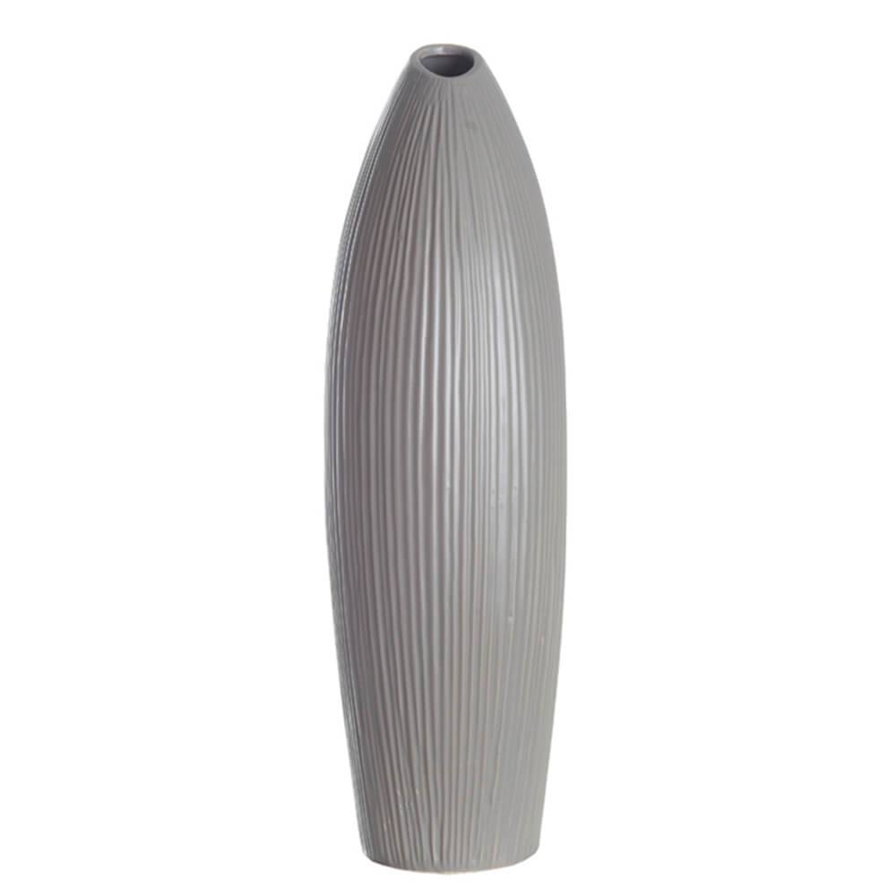 Vaso Bamboo Leaves Cinza Grande em Cerâmica - Urban - 42x15 cm