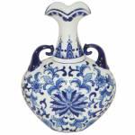 Vaso Blue Spirit Little Wings Azul Índigo e Branco em Cerâmica - Urban - 32x24,2 cm