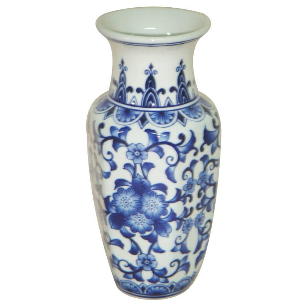 Vaso Blue Spirit Sextavado Azul Índigo e Branco em Cerâmica - Urban - 25x12,5 cm