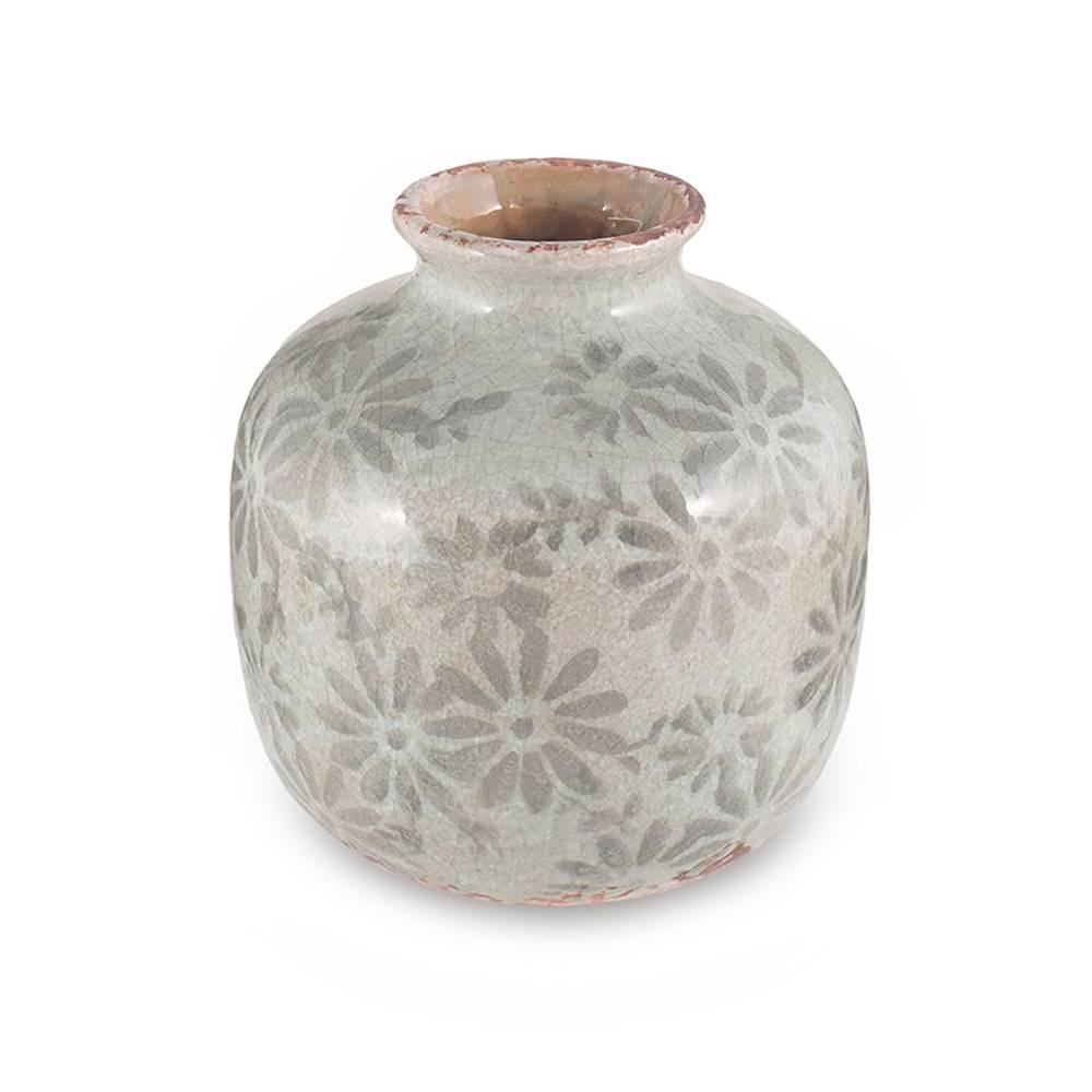 Vaso Bojudo Grey Flowers em Cerâmica - 15,5x14,5 cm
