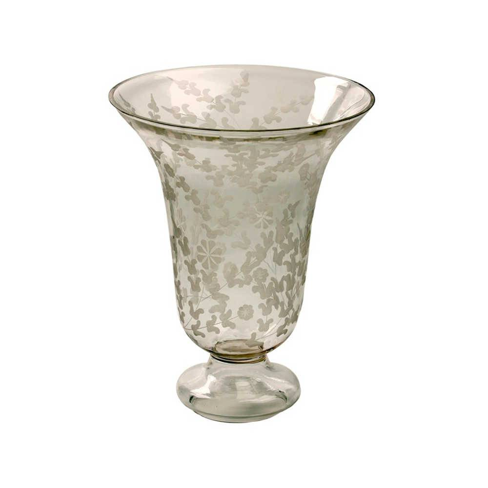 Vaso Borboletas e Flores em Vidro - 20x15 cm
