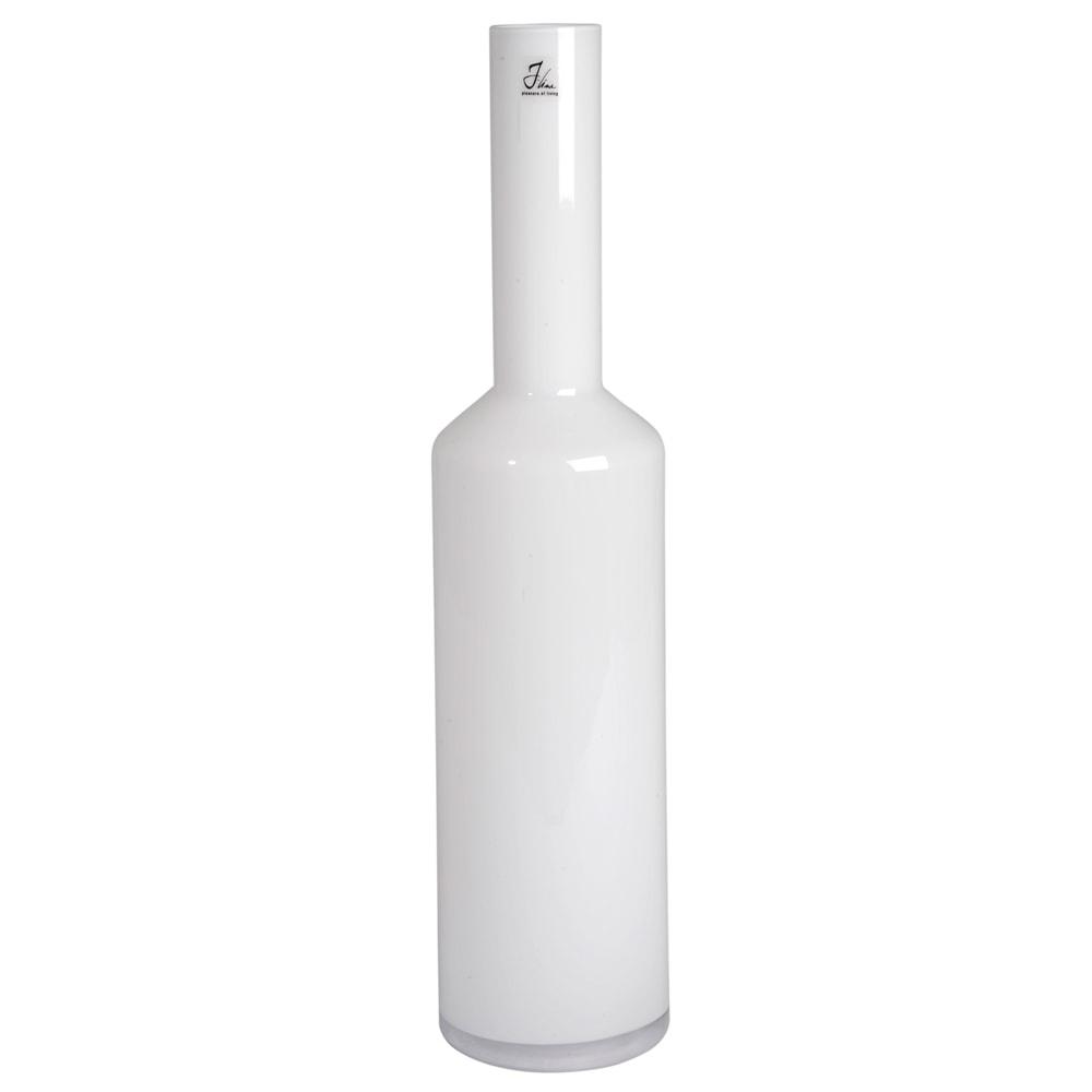 Vaso Bottle Cylind Grande Branco em Vidro Leitoso - 75x18 cm