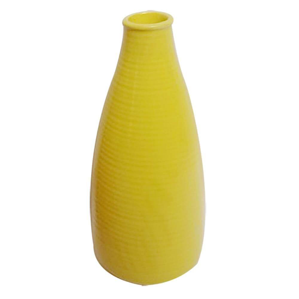 Vaso Bottle Rings Amarelo Pequeno em Cerâmica - Urban - 25x10,5 cm