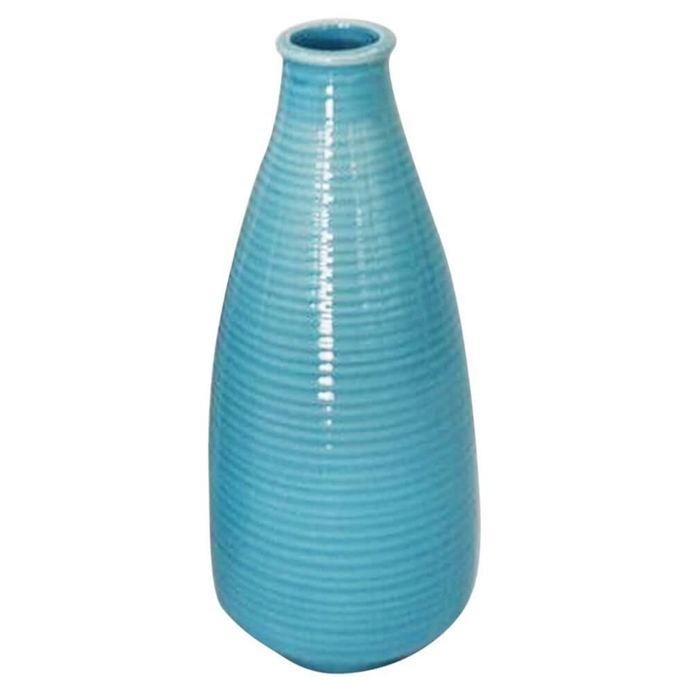 Vaso Bottle Rings Azul Pequeno em Cerâmica - Urban - 25x10 cm