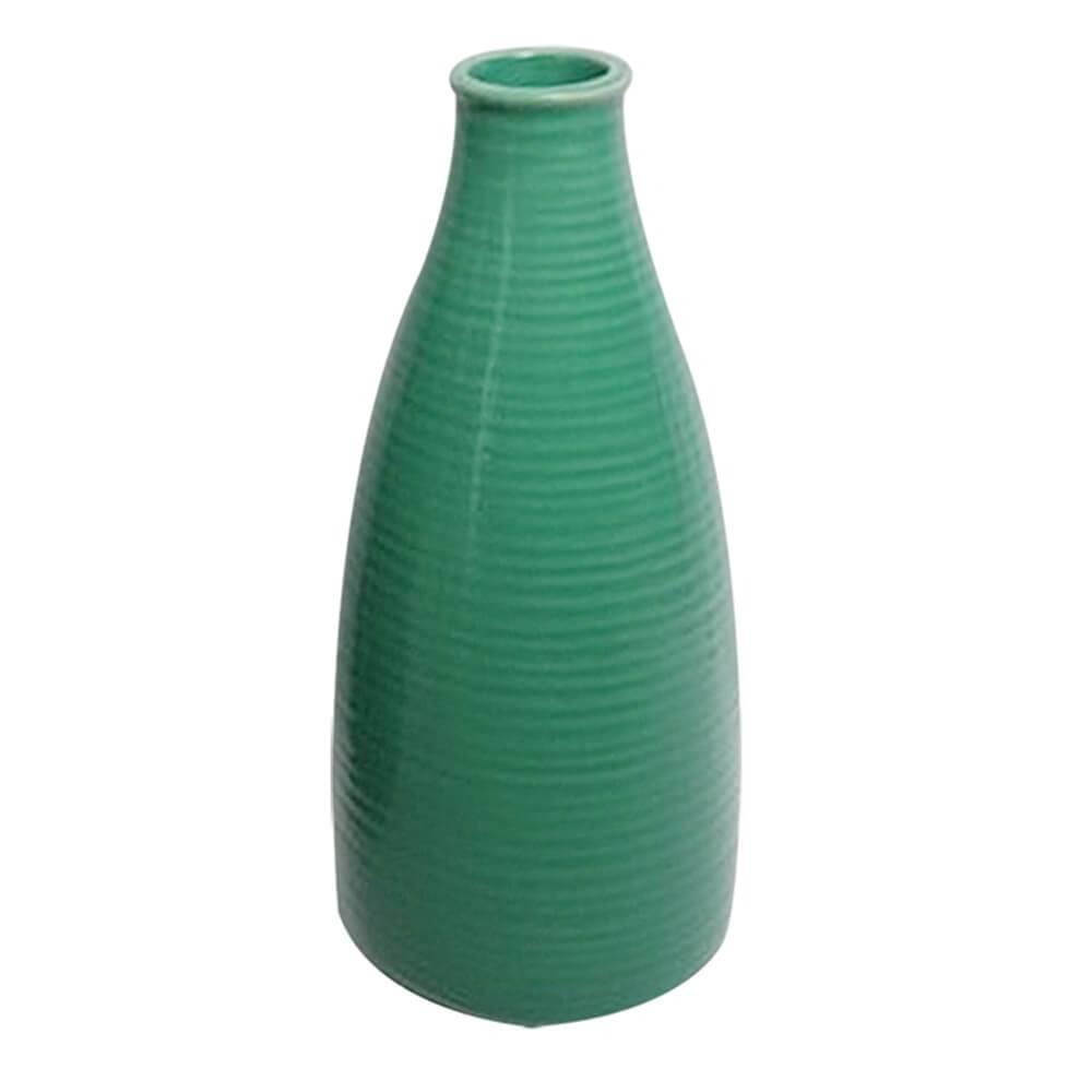 Vaso Bottle Rings Verde Pequeno em Cerâmica - Urban - 25,2x10,2 cm