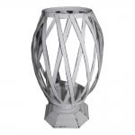 Vaso Branco Trelica em Metal - 33x20 cm