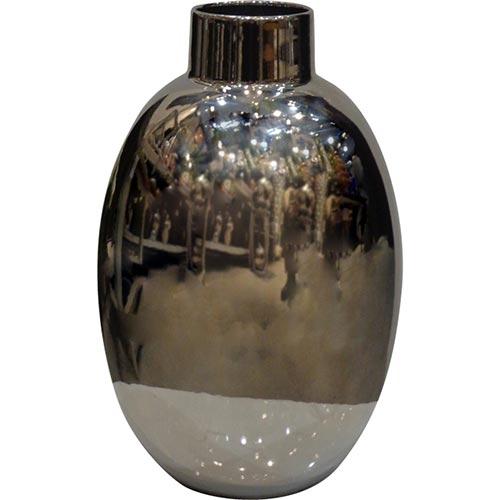 Vaso Brilliant Grande Prata em Cerâmica - 46x24x24 cm
