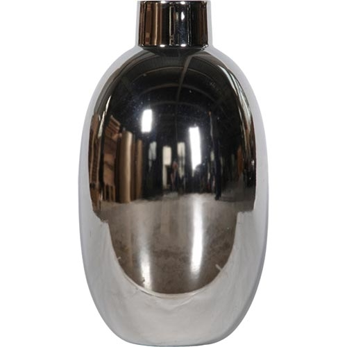 Vaso Brilliant Médio Prata em Cerâmica - 27x16x16 cm