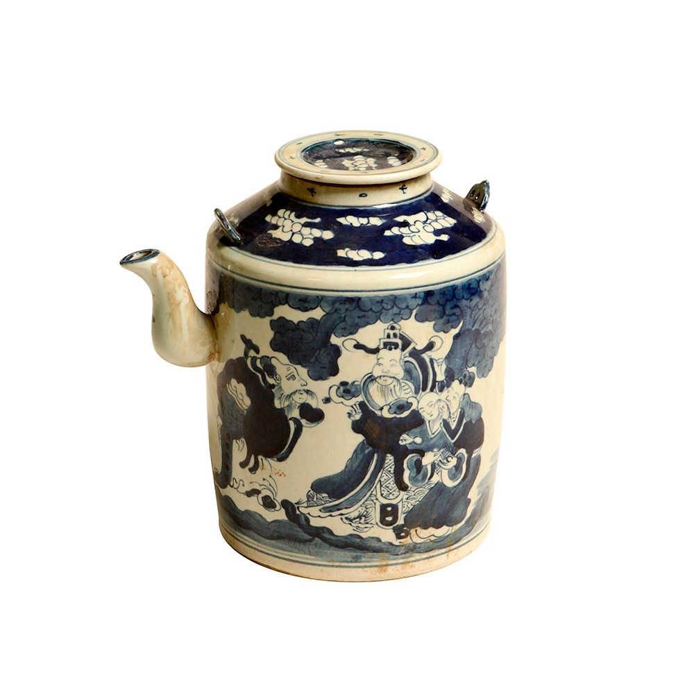 Vaso Bule Tradição Oriental Azul e Branco em Porcelana - 27x25 cm