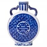 Vaso com Estampa Azulejo Português Azul/Branco Pequeno em Porcelana - 16x11 cm