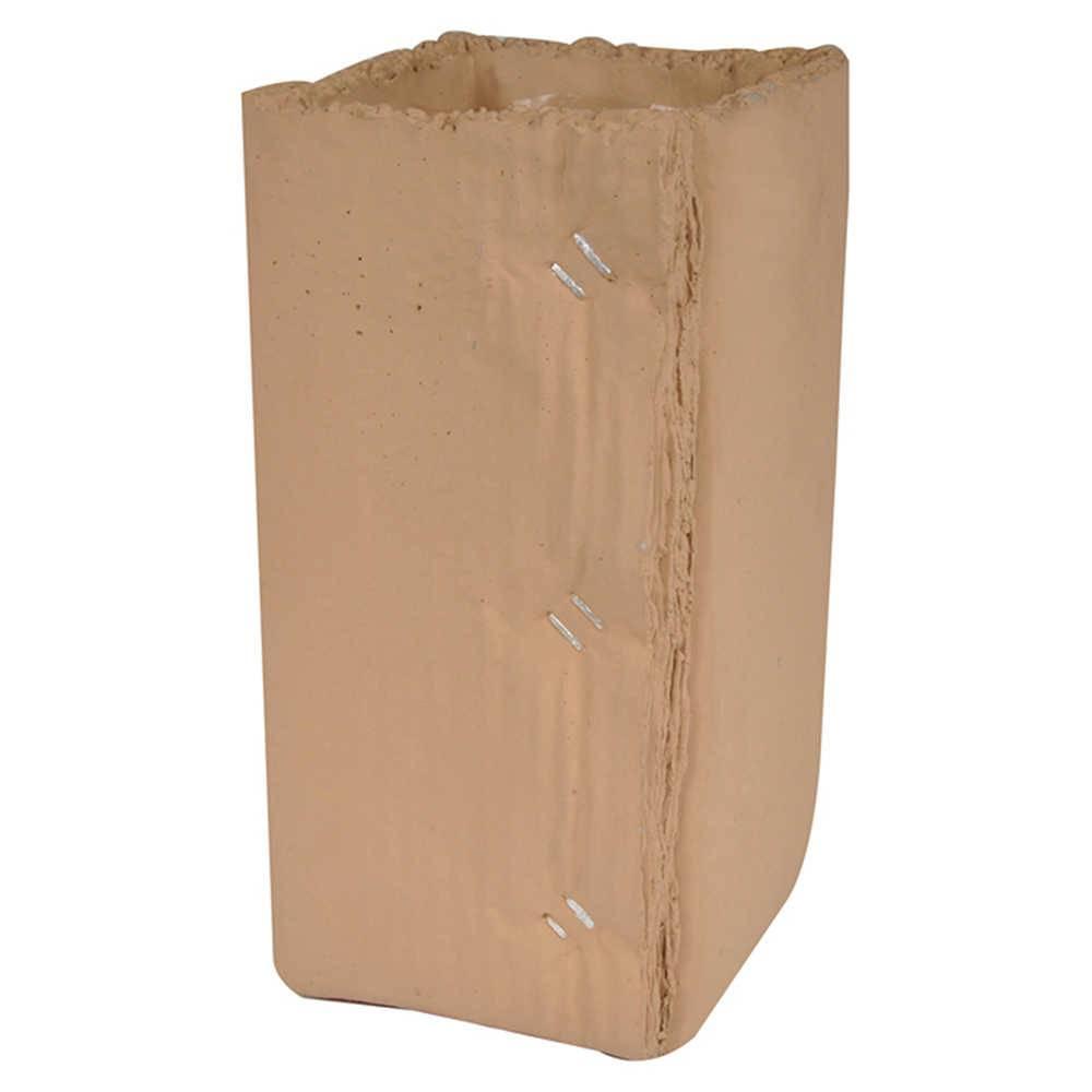 Vaso Caixa de Papelão sem Abas Quadrado Grande Marrom em Cerâmica - Urban - 27x16 cm