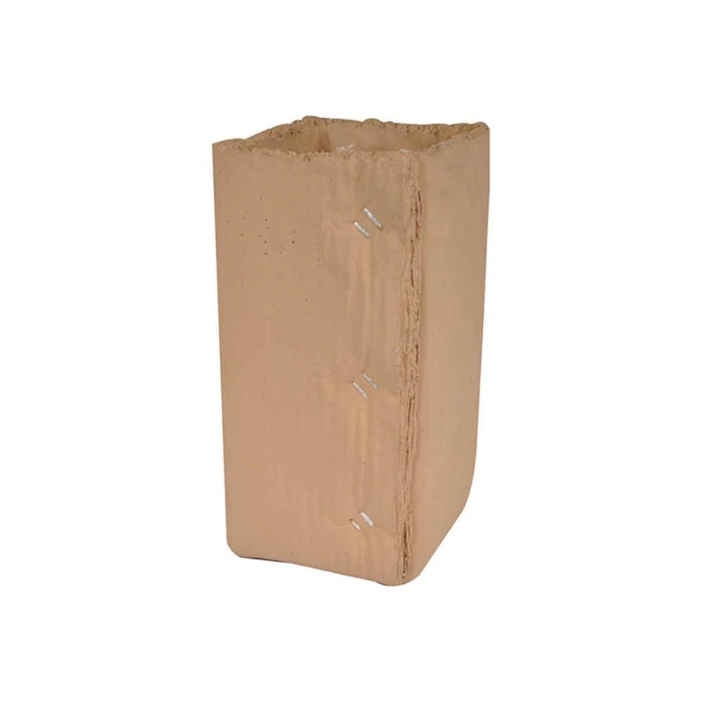 Vaso Caixa de Papelão sem Abas Quadrado Pequeno Marrom em Cerâmica - Urban - 22x13 cm