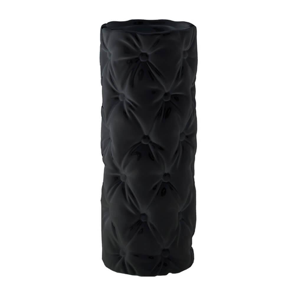 Vaso Capitonê Redondo Preto em Cerâmica - Urban - 34x13 cm