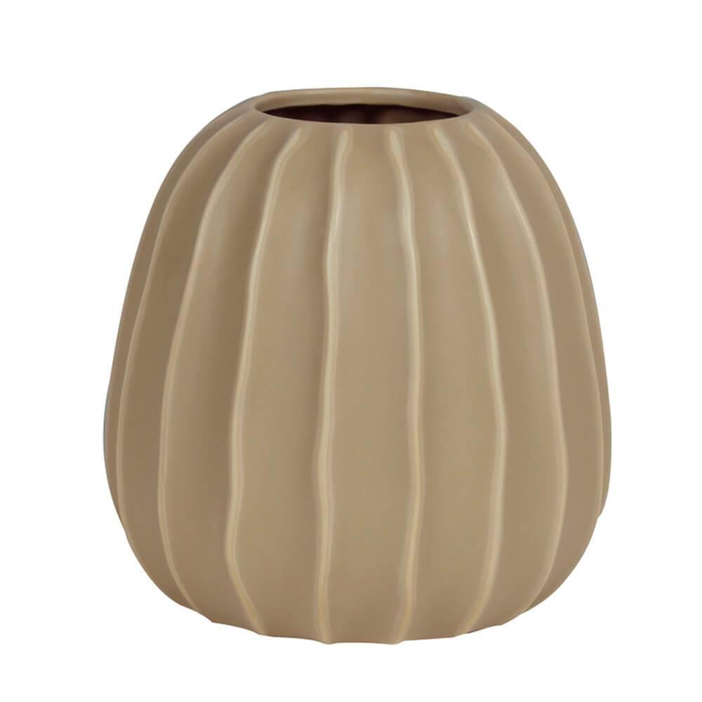 Vaso Carambola Abaulado Cinza em Cerâmica - Urban - 21x21,5 cm