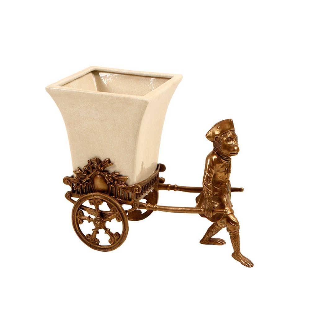 Vaso Carroça e Macaco em Porcelana e Bronze - 31x19 cm