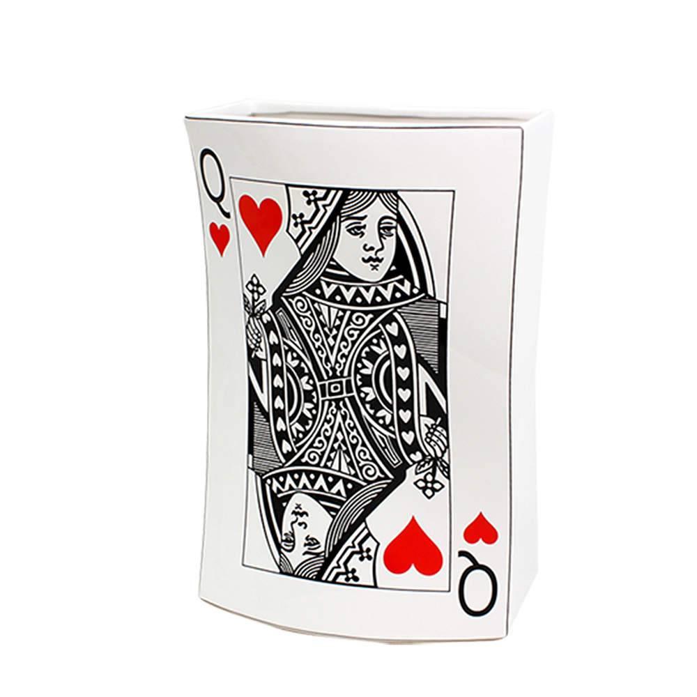 Vaso Carta de Baralho Damas de Copas Fundo Branco em Cerâmica - Urban - 30x20 cm